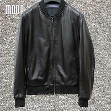 Black genuine leather coats men lambskin bomber jackets biker jacket manteau homme veste cuir homme LT536 free shipping