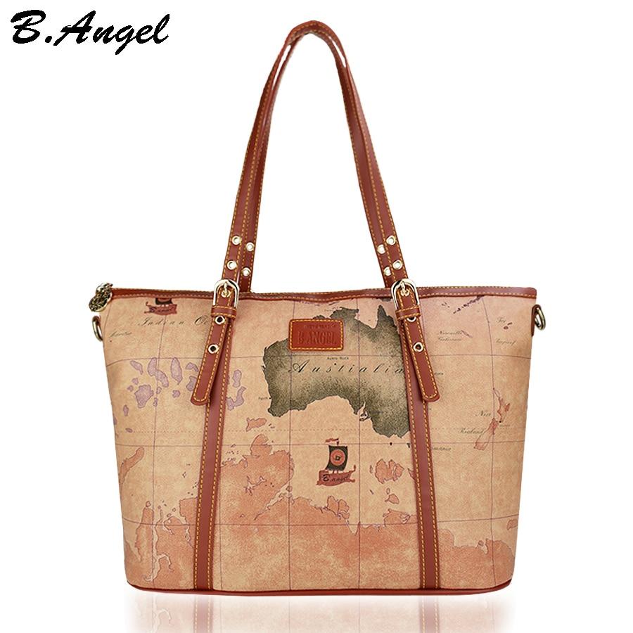 Women map bag vintage handbag luxury handbags women bags designer retro bags handbags women famous brands