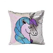 2019 Cushion Unicorn Sequin Cushion Cover 40X40cm Mermaid Sequin Cushion Cover Decorative Pillows Decorative Pillow Case