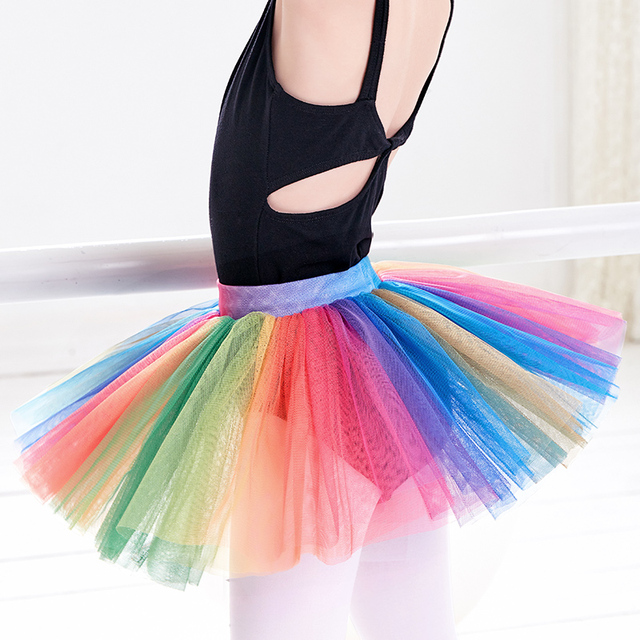 cde3eaa1117e Rainbow Ballet Tutu Girls Toddler Child Pull On Fluffy Tutu Colorful ...