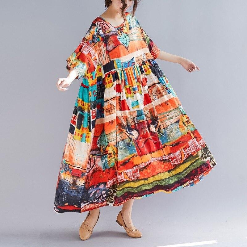 1a97971c1a60d Jaune coton lin vintage grande taille femmes décontracté lâche longue robe  d'été élégant vestidos