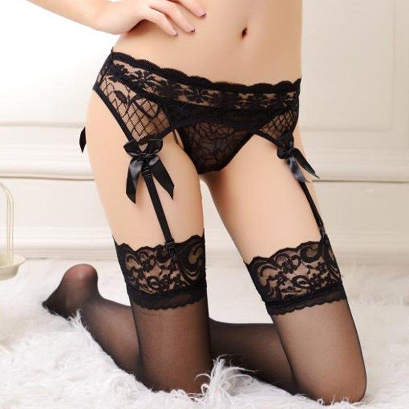 Sexy Lucency Sheer Mid Waist Top Thigh-Highs Lace Stockings Lingerie Women's Garter Suspender Belt Underwear Lingerie