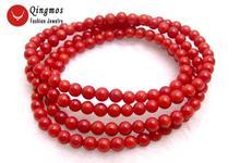 Qingmos браслет из натурального коралла для женщин с 5 6 мм