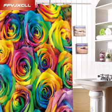 Custom Made Colorful Rose Printing Polyester Fabric Waterproof Shower Curtain Eco-Friendly Creative Bathroom