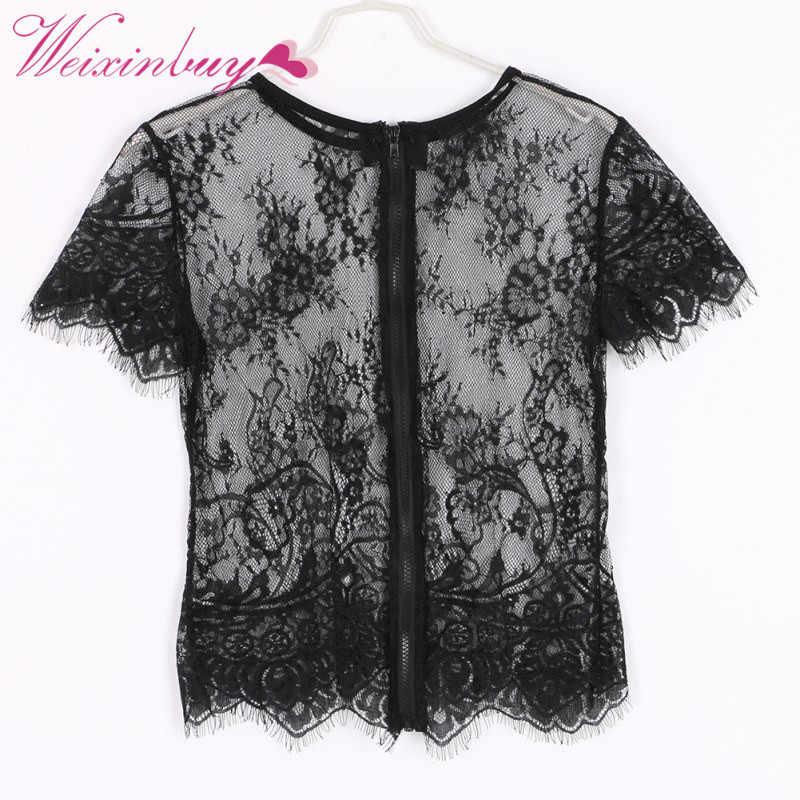 Сексуальная кружевная женская блуза из прозрачной пряжи с коротким рукавом и