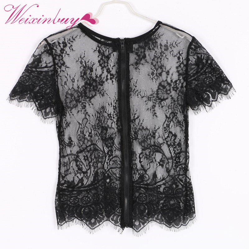 Sexy Lace Look Through See Net Garen Dames Blusas Femininas Korte mouw Terug Rits O Hals Vintage blouse Crop Top 2018 Zomer