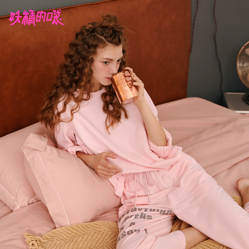 ELF SACK Autumn New Pajama Sets Women Cute Cotton Letter Full Round Neck Women Sets 2
