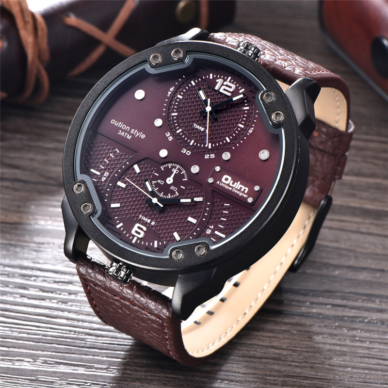 Oulm Top Brand Luxury Men Watches Two Time Zone Casual Leather Waterproof Watch Sport Quartz Male Clock Men's Big Size Watch alternativa мыльница стиль на ванну alternativa