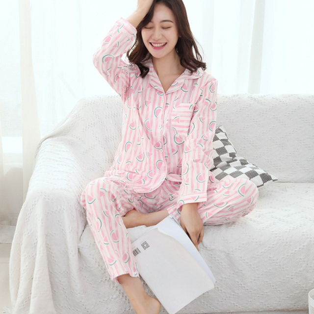 30aaf673c2 Fashion Women s Pajamas Sets Cotton Print Yukata Striped Sleep Lounge Top  and Pants Girl Nightgown Sleepwear Homewear Pyjamas