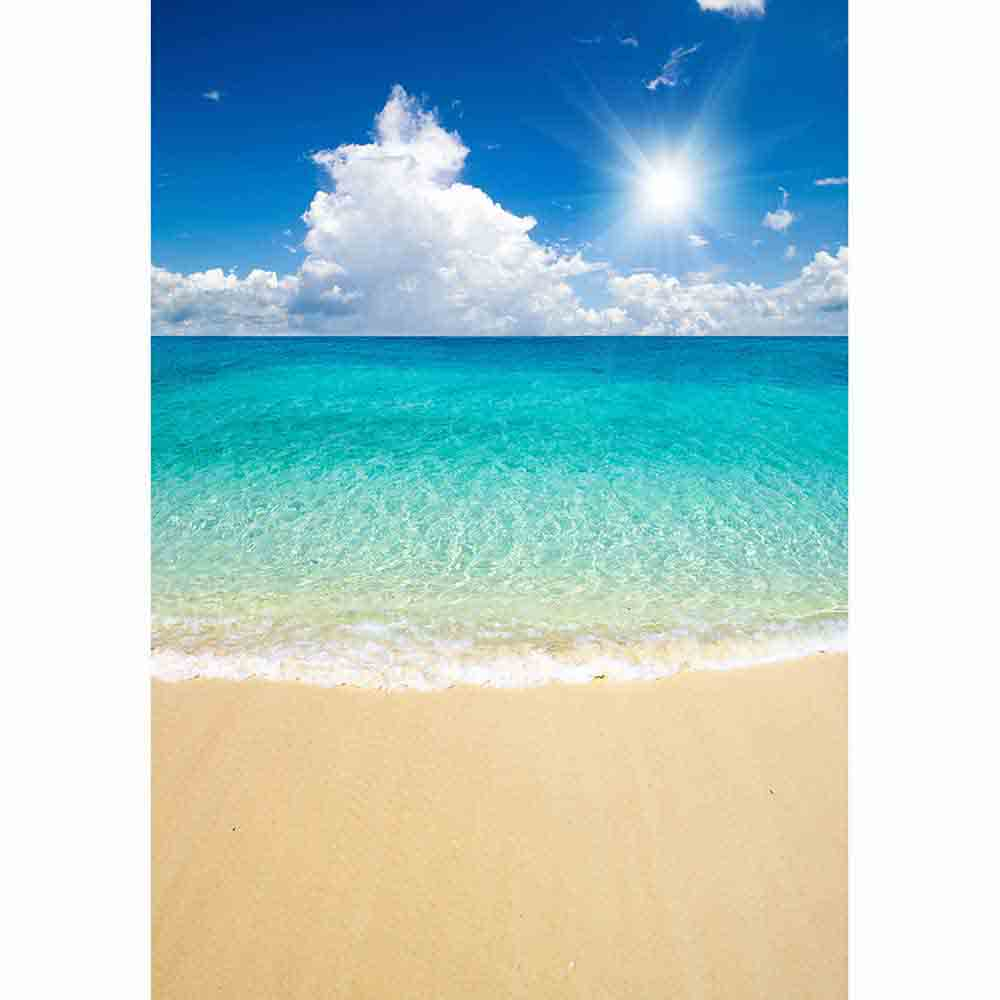Allenjoy backdrop for photographic studio beautiful sandy beach tropical sea blue sky white clouds background summer photocall in Background from Consumer Electronics