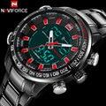 Hombres relojes deportivos naviforce marca moda relojes de doble pantalla led reloj digital de acero inoxidable reloj de cuarzo de regalo relojes de pulsera