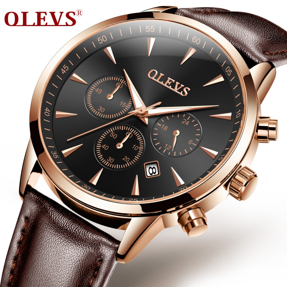 OLEVS Watches  Leather Belt Strap Sport Fashionable Waterproof Erkek Kol Saati