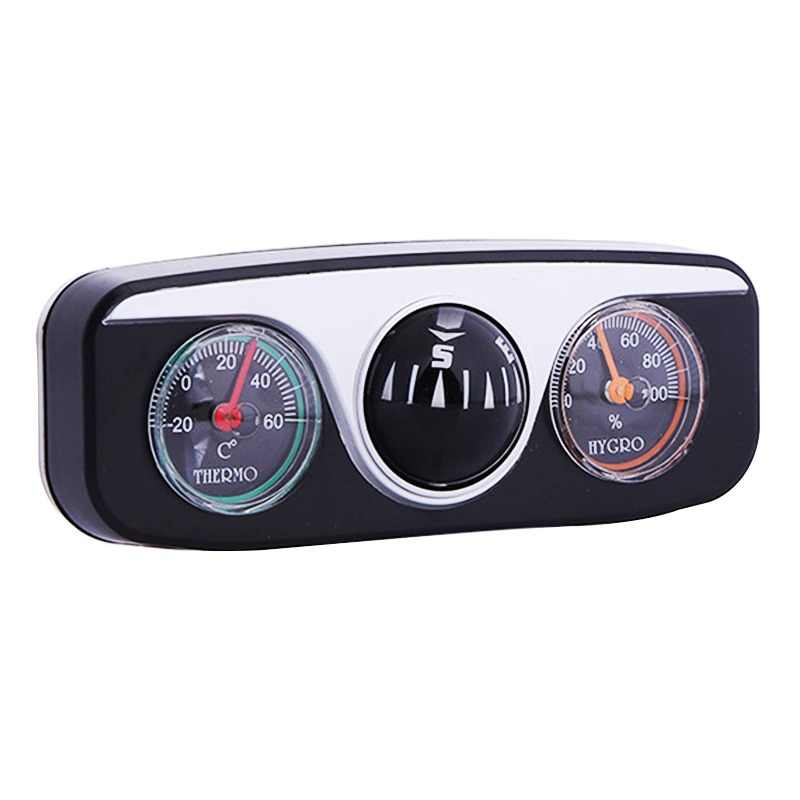 Mini 3 in 1 Guide Ball Built-in Auto Compass Thermometer Hygrometer Decoration Ornaments Car Interior Accessories