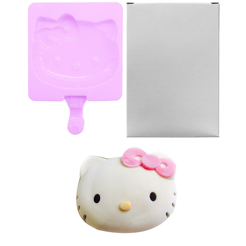 ᗑ9 Pattern Hello Kitty Silicone Popsicle Mold Ice Cream Frozen Popsicle Molds Frozen Popsicle Molds Ice Maker Holder A605