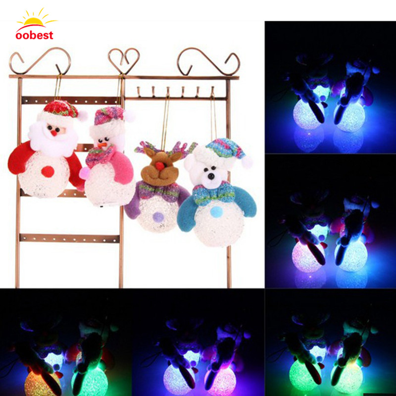 Oobest Chrismas LED Flash Light Christmas Tree Hanging Decor Santa Claus Snowman Pendants Gift For Child