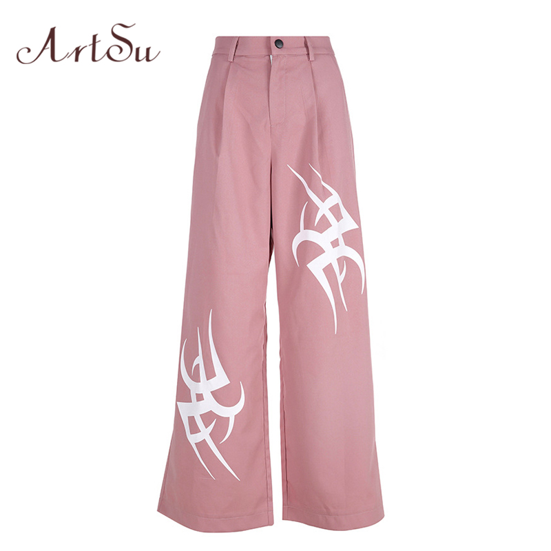 ArtSu Streetwear High Waist   Wide     Leg     Pants   Long Trousers Women Print Sweatpants Summer Harajuku   Pants   Black Pink ASPA20198
