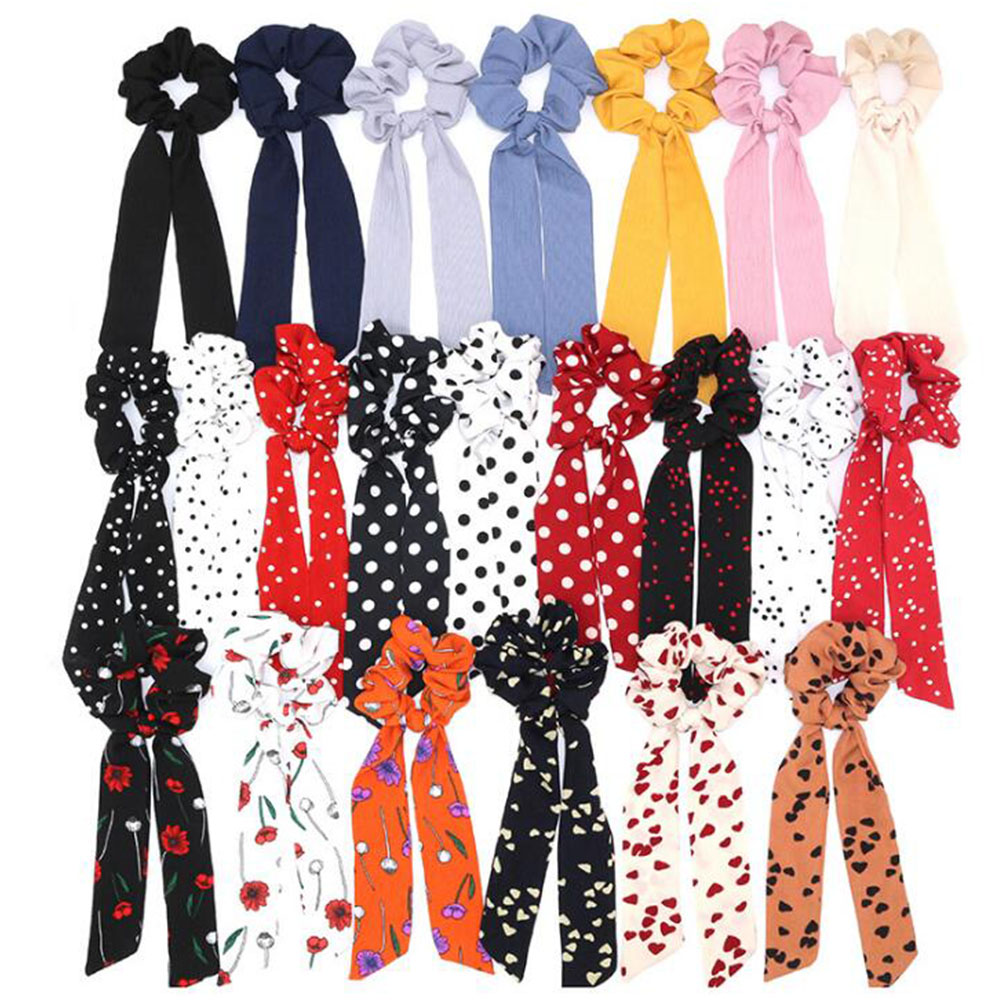 2019 Bohemian Polka Dot Floral Printed Ribbon Bow Hair Scrunchies Women Elastic Hair Band Ponytail Scarf Hair Ties Accessories