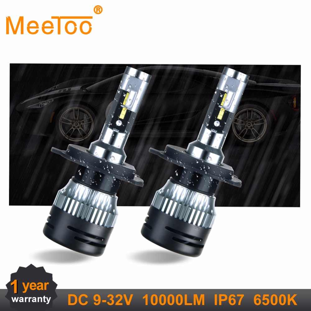 2Pcs MeeToo H7 LED H4 Auto Car Headlight 9005 9006 H3 H15 H8 H9 H11 9004 9007 9012 LED H1 IP67 50W 10000LM 6500K Automobile Bulb