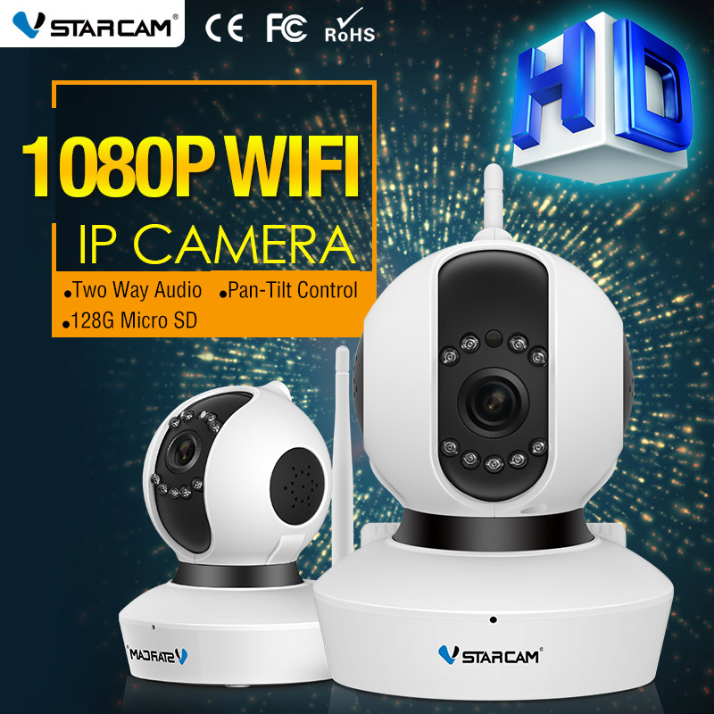 Vstarcam 2 MP caméra IP sécurité infrarouge 128G carte SD Slot enregistrement Audio 1080 P FULL HD CCTV sans fil Webcam C23S