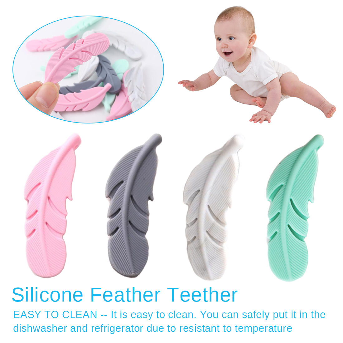 Silicone Beads Nursing Accessories Dentition Feather Teething Soother Chain Baby Teether Teething Silicone Toys For Baby Chew