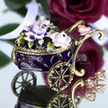 3*2 IN Metal & Crystal Bandwagon Trinket Box Wedding Jewelry Earring Ring Storage Case Birthday Gift DIY Crafts Home Accessories