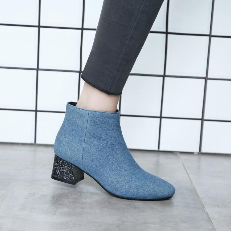 PXELENA Retro Polka Dot Denim Ankle Boots Women Square Med Heels ... 972e1b06e0e1
