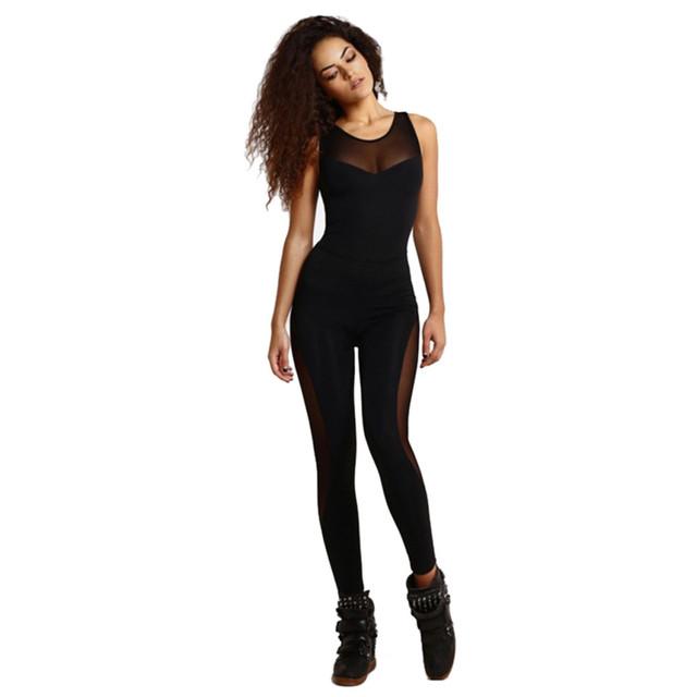 Novas Mulheres negras Bodycon Moda Sexy fio Net splicing Macacão Sem Mangas Bodysuit Playsuits Preto Sólido Para O Clube de Festa À Noite