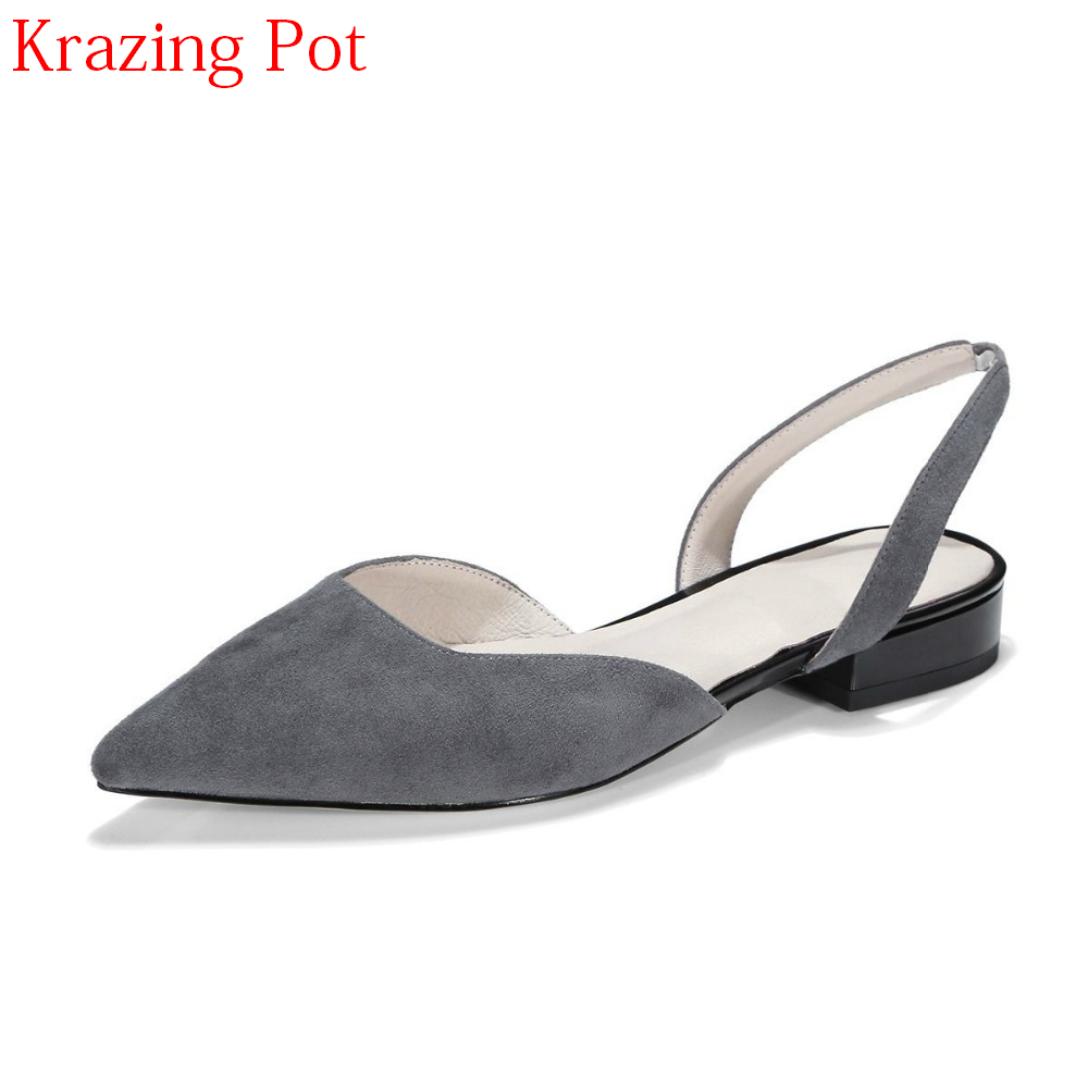 2018 Sheep Suede Slip on Slingback Fashion Summer Shoes Pointed Toe Low Heels Streetwear Casual Office Lady Sexy Women Pumps L33 sweet women high quality bowtie pointed toe flock flat shoes women casual summer ladies slip on casual zapatos mujer bt123