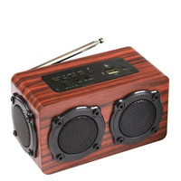 Bluetooth Wireless Bass Speaker Multi functional Hifi Wooden Subwoofer Sound Box Support FM MP3 Built in Microphone