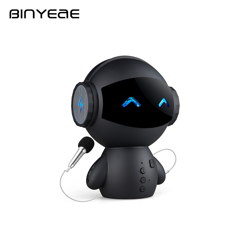 BINYEAE Robot Shape Portable Speaker Multifunction Blutooth Speaker Singing Speakers with Mini Microphone for All Phone MP3 Ipod