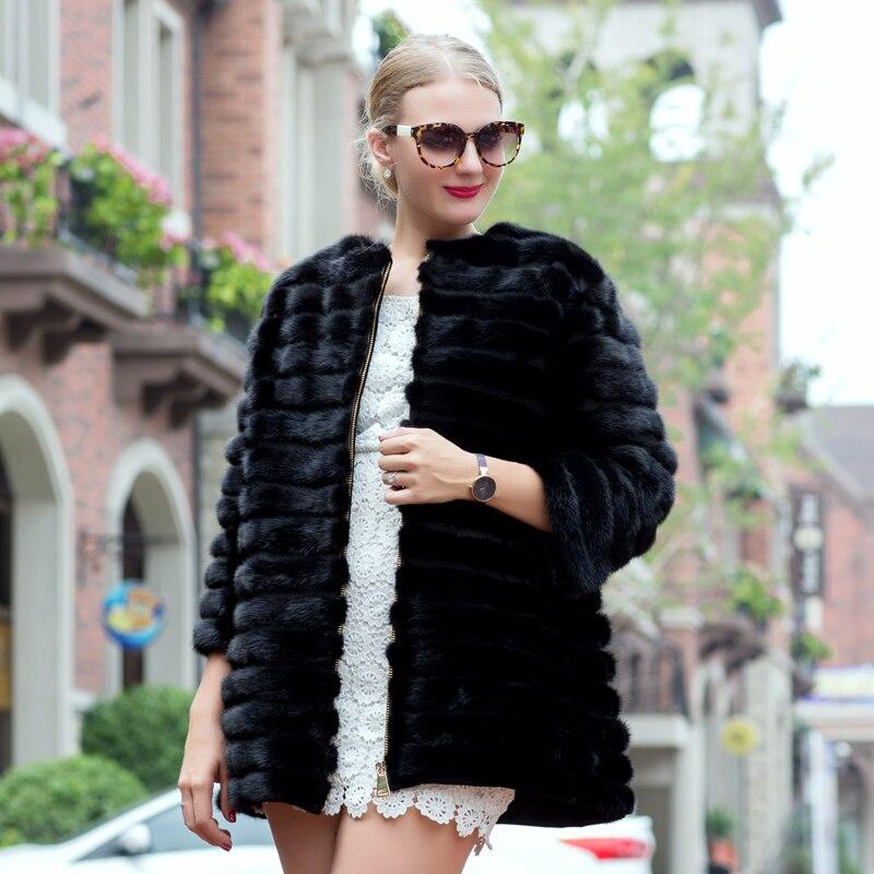 2018хит продаж, модели осенне-зимнего норкового пальто, см женское натуральное Полосатое черное кожаное пальто с мехом 70 см Ms.