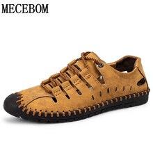 New Summer Shoes Men Casual Shoes Quality Split Leather Shoes Hollow Breathable Men Flats Hot Moccasins plus size 38-46 8808m