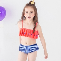 Girls Splice Bikini Swimwear For Children Tassel Double Ruffles Camisole Swimsuit For Girl Kids Rainbow Swimming Beach Clothes
