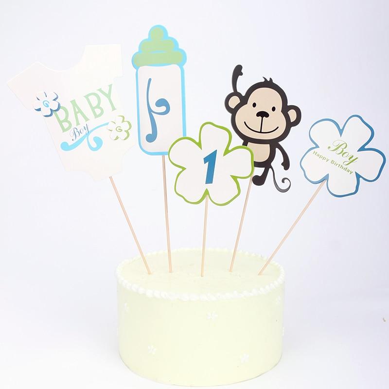 5pcs/set pink / blue Monkey milk bottle cake Topper picks Baby Shower 1st Birthday Party Baptism Supply Desserts cake decoration