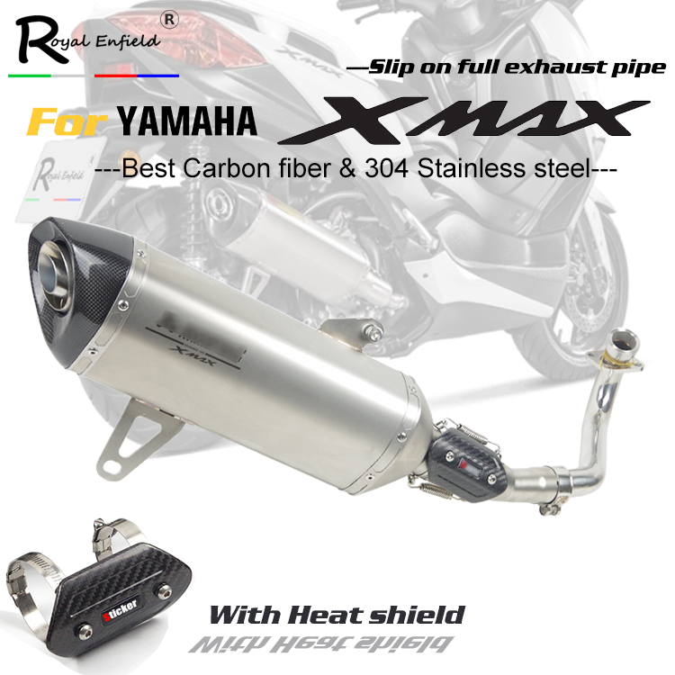 X-max 250 300 moto sans lacet d'échappement plein tuyau en Fiber de carbone silencieux tuyau d'échappement pour Yamaha XMAX 250 300 2017 2018 avec lase