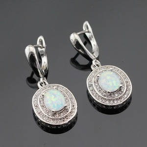 Image 4 - Australia White Opal Silver Color Jewelry Sets For Women Christmas Cubic Zirconia Necklace Pendant Drop Earrings Rings Gift Box
