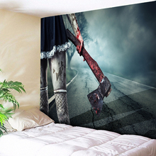 Bloody Axe Halloween Party Wall Tapestry Microfiber Fabric Hanging for Bedroom Hippie Decoration Cloth