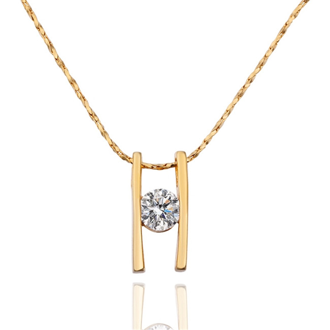 Hot Gold Color H Pendant Necklace With Zircon Nice Valentineu0027s Day Gift  Fashion Jewelry Factory Cheap