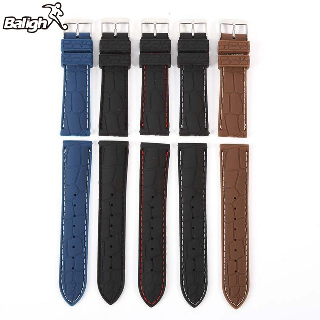 Band Silicone Rubber Strap Watch Crocodile Pattern Brown Black 20 22mm Durable W
