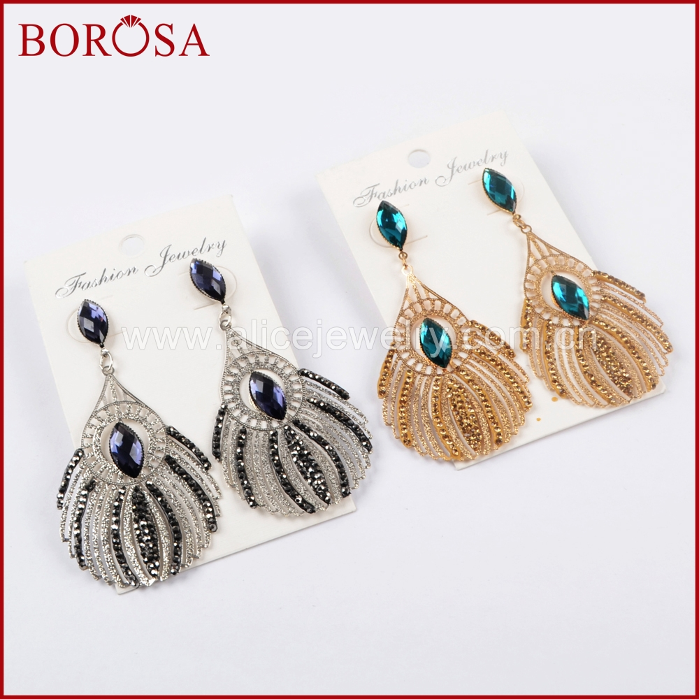 BOROSA Vintage Gold/Silver Color Rhinestone Pave Crystal Peacock Feathers Dangle Earrings Metal Drop Earrings Jewelry JAB837