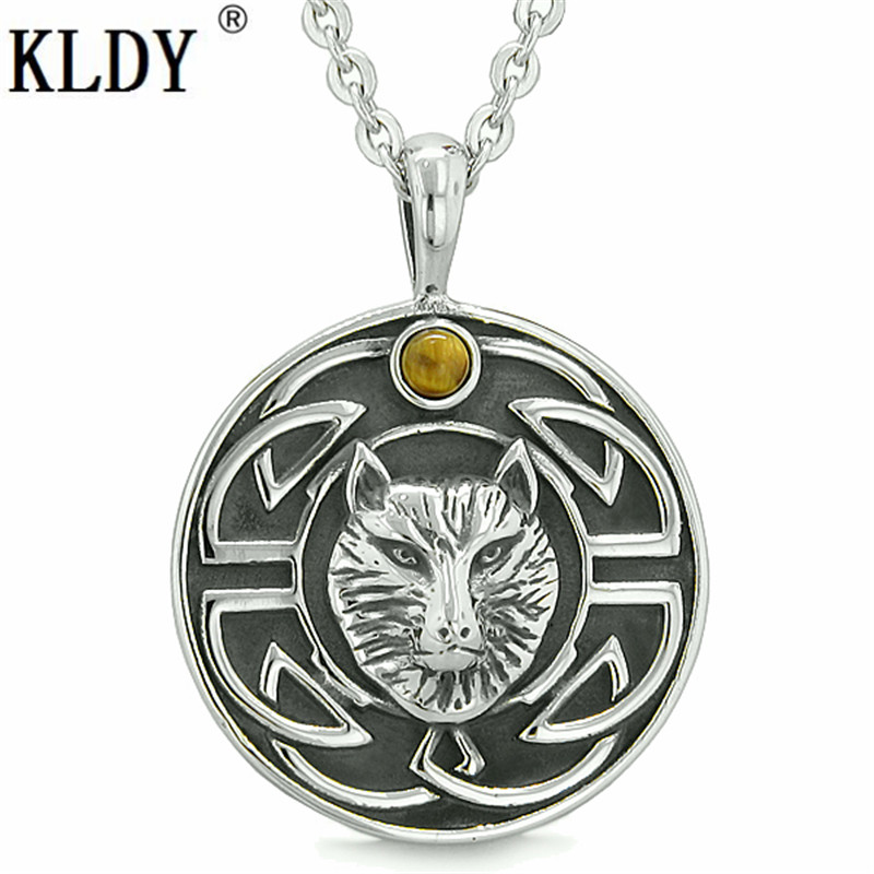 KLDY Tiger Eye Protection Powers Wolf Pendant Amulet Courage Wisdom Ancient Viking Knot Punk Necklace stainless charm Jewelry