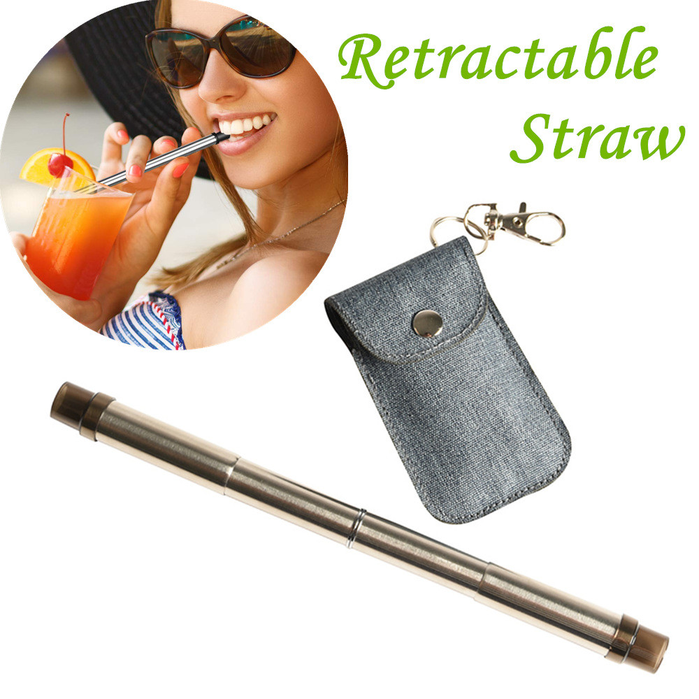Reusable Stainless Steel Straws Drinking Straws Retractable Straws Drinking Tool the goods for kitchen