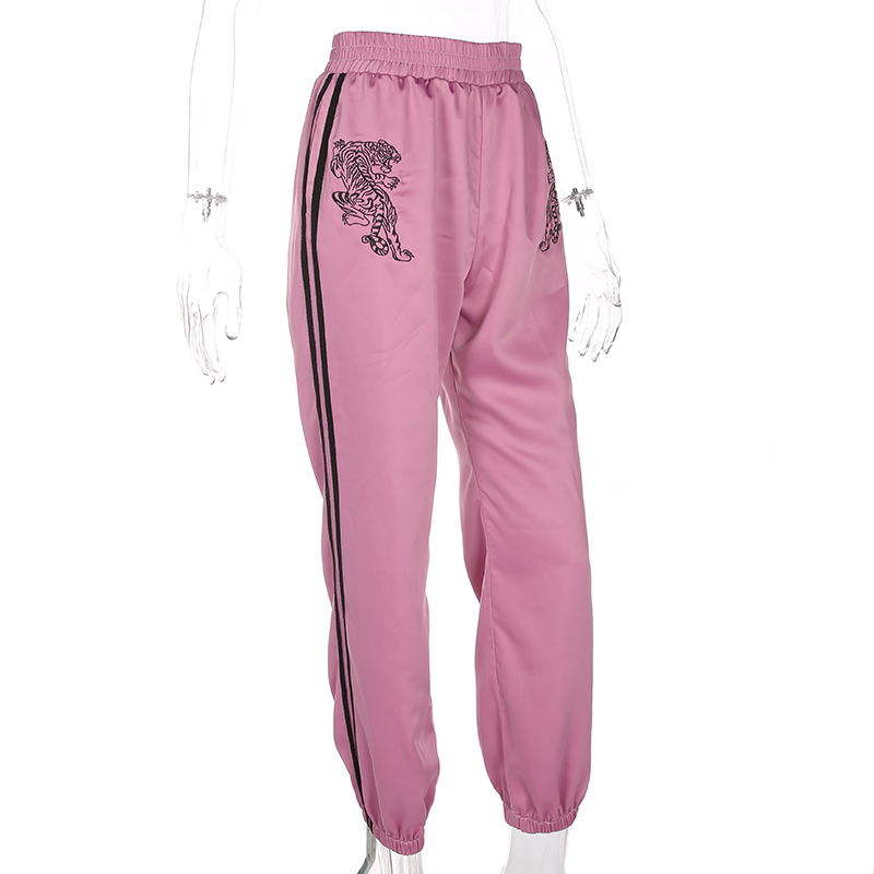 Satin Elastic Pants Women Sweatpant Brand Embroidery Tiger Casual Striped Pencil Pants Streewear Trousers Jogger Pantalon Femme