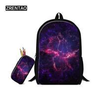 Outer Space Galaxy Pattern Backpacks Sets 2 Pcs Book Rucksack Schoolbag For Teens Boys Girls Schooler Bookbag Nursery School Kid