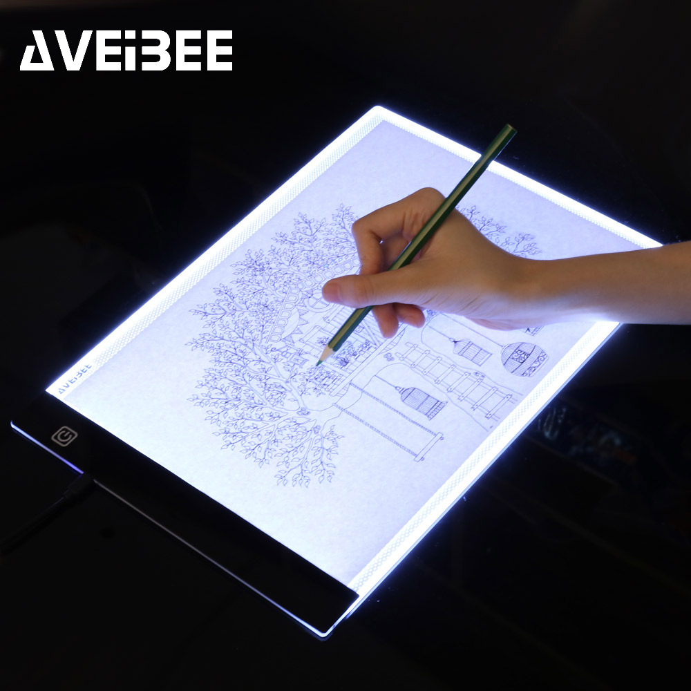 LED Lighted Drawing Board A4 Light Pad Drawing Tablet Tracing Pad Sketch Book Blank Canvas For Painting Watercolor Acrylic Paint