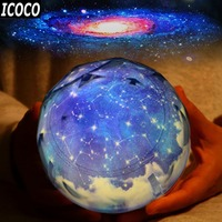 ICOCO Starry Sky Magic Projector Lamp Constellation Planet Earth Christmas Rotating Galaxy LED Night Light Cosmos