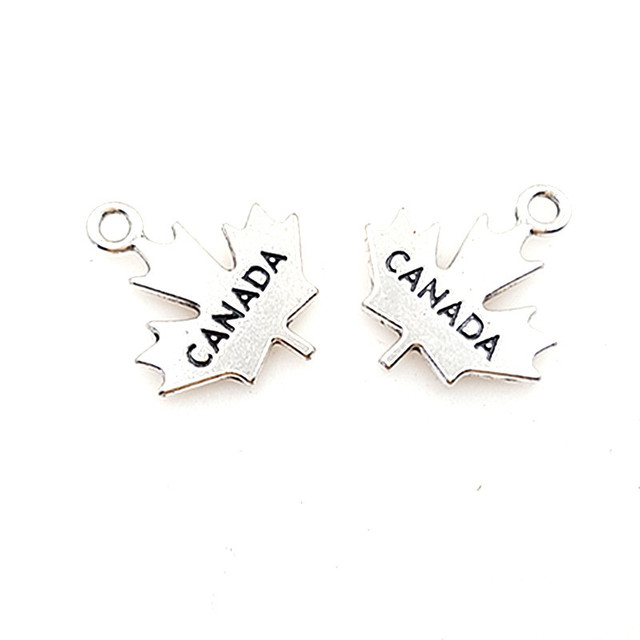 Newest Style 20 Pieces/Lot 20mm*20mm Antique Silver Plated Alloy Canada Charms Maple Leaf Charms For Diy Making