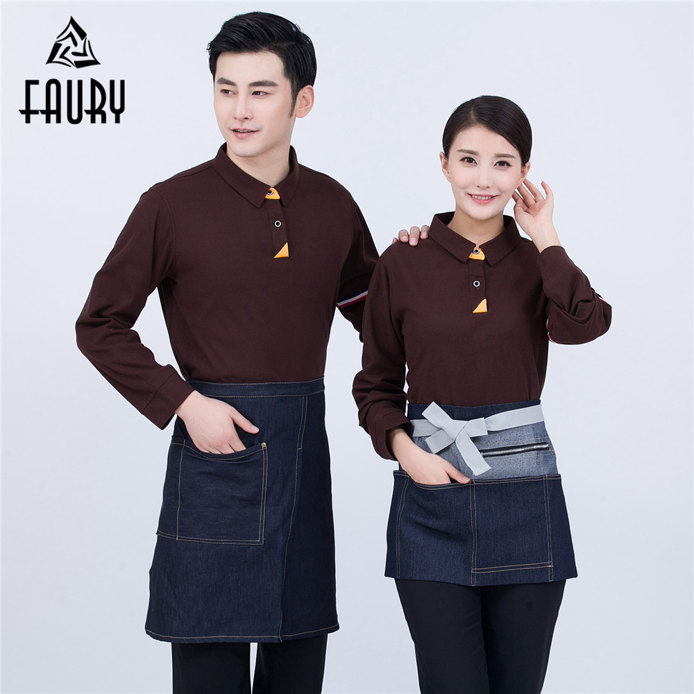 Turn-down Collar Long Sleeve T-shirt Workwear Western Restaurant Hotel Uniforms Clothing Cake Baking Shop Waiter Chef Overalls