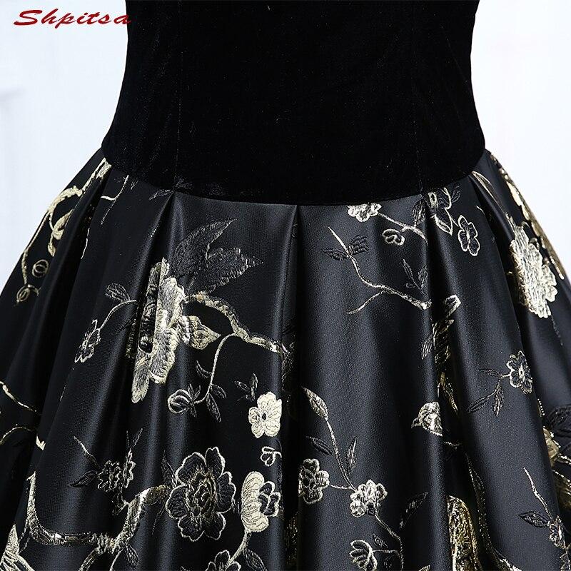 Noir élégant velours longues robes de soirée 2018 parti grande taille femmes robe de bal robes de soirée formelles robes en vente - 6