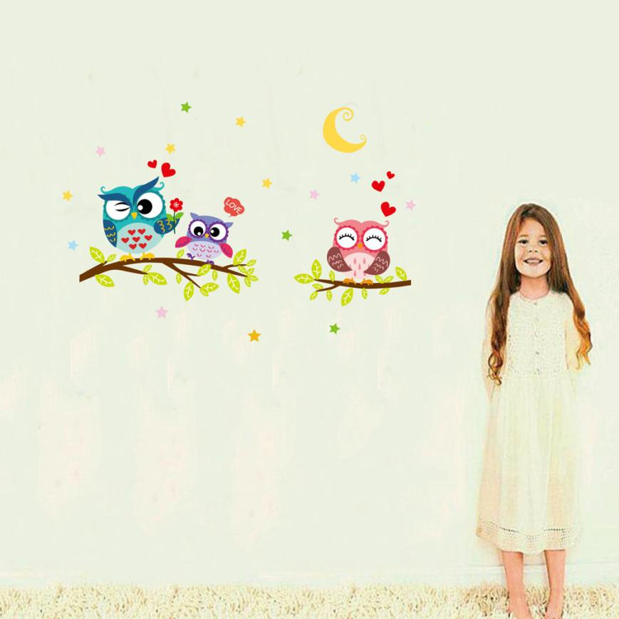 wall sticker Hot New Removable Waterproof Cartoon Animal Owl Wall Sticker For Kids Rooms Cute Wall Art Decoration dropship